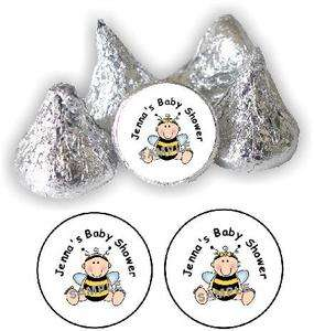 108 PEEL & STICK BUMBLE BEE BOY OR GIRL BABY SHOWER PERSONALIZED KISS