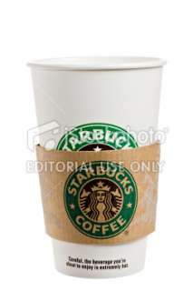 Starbucks Paper Cup With Protective Sleeve Royalty Free Stock Photo