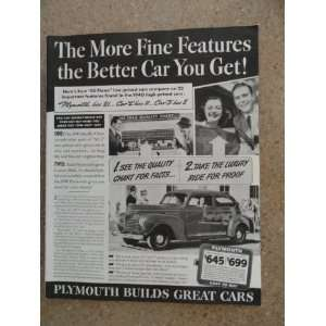 1940 Plymouth car, Vintage 40s full page print ad. black