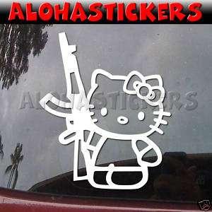 HELLO KITTY AK47 GUN Vinyl Decal Car Window Sticker A53