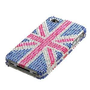 Union Jack English UK Flag Apple iPhone 4/4S Rhinestone Bling Phone