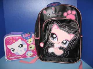 LPS LITTLEST PET SHOP Kitten BACKPACK + Kitty LUNCH BOX