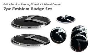 3D K LOGO Emblem Badges 7pc SET(Front+Rear+Steering+Wheel Caps fit on