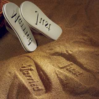 Bride And Groom Just Married Beach Wedding Sandals
