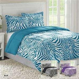 Blue White ZEBRA PRINT Reversible Comforter Shams Bedding Set
