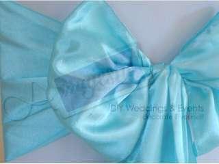 10 TIFFANY BLUE Satin Wedding Chair Sashes Ties