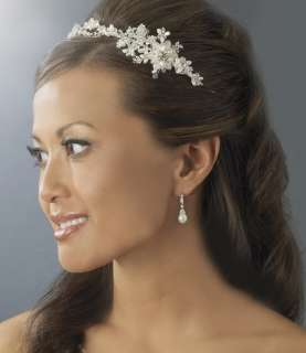 PEARL & CRYSTAL BRIDAL HEADBAND SIDE ACCENT HAIR VINE
