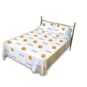 NCAA   Clemson Tigers White Sheet Set  King Bed