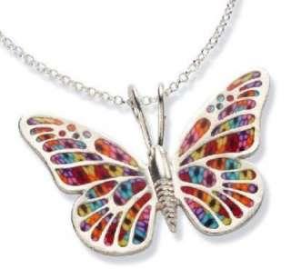 Flower Sterling Silver Butterfly Open Wings Necklace