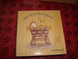 Rubber Stamp Christmas Jesus Unto Us Child Born Manger