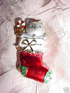 Cute Pewter Cat in Stocking Christmas Pin Brooch Rhinestones signed