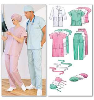 MCCALLS PATTERN M6107 MISSES MENS UNIFORMS LAB COAT, DRESS, TOP, PANTS