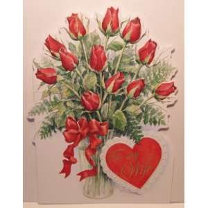 Carol Wilson Valentines Day Card   To My Wife   Dozen Red Roses
