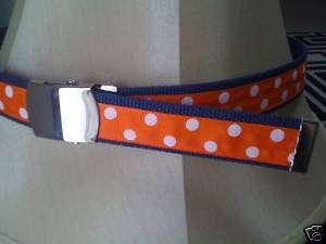 Orange & Navy Blue Polka Dot Grosgrain Ribbon Belts