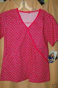 Dickies scrubs print top Daisy 100% cotton PINK NEW XS