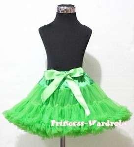 Xmas Bright Green Full Pettiskirt Skirt Dance Tutu Dress For Girl Size