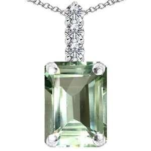 Gold Genuine Emerald Cut Green Amethyst and Diamond Pendant(Meta