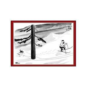 Charles Addams Christmas Cards   Downhill Skier: Office
