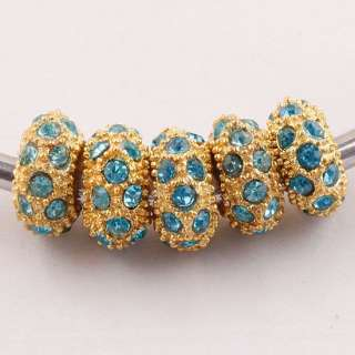 5Pcs Light Blue Crystal European Inlay Beads PPc112