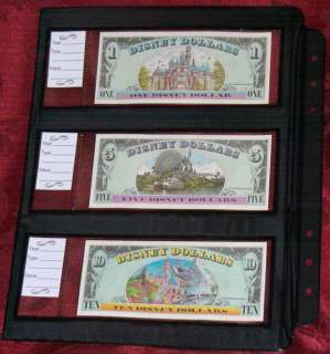 Disney Dollar deluxe Currency Album with 12 sheets