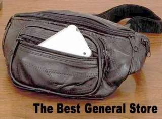 Black Lambskin Leather Fanny Pack Belt Waist Hip Bag Waistpack Large