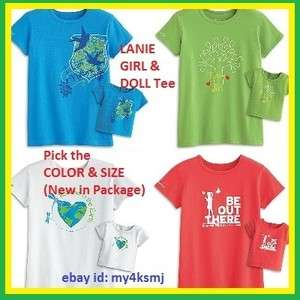 American Girl LANIE TEE SET for GIRL DOLL Red Blue Green White girls