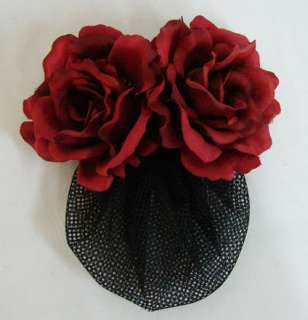 Red Silk Rose flower Barrette Hair Clip with Snood Net