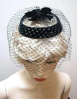 VINTAGE BLACK VELVET BIRDCAGE HAT, HALO VEIL HAT #1286