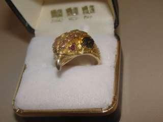 Hills Gold Harley Davidson Eagle Head Ladies Ring w/ Ruby eyes