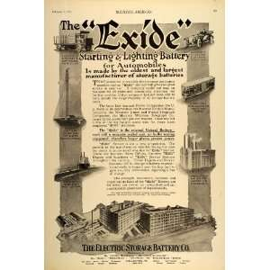 1916 Ad Exide Electric Storage Battery Building Plant