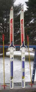 KIDS Cross Country 46 Skis 3 pin 120 cm +Poles LAMPINEN