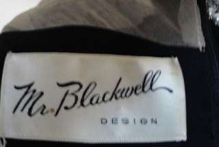 Glam Vintage Black Jeweled Mr. Blackwell Cocktail Dress B44