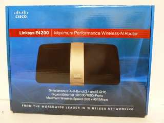 NEW Cisco Linksys E4200 Dual Band Wireless N Router 745883590438