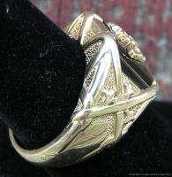 Mens 14k Yellow Gold Diamond Ring Double Headed Eagle w Navy Blue