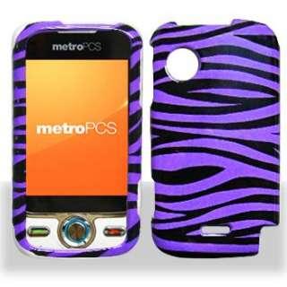 PURPLE BLACK ZEBRA PHONE CASE FOR METRO PCS HUAWEI M735