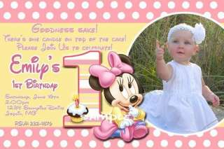 Baby Mickey Minnie Mouse First Birthday Invitation