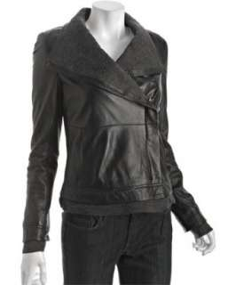 Andrew Marc black leather wide collar zip front jacket   up to