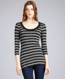 Bailey 44 black and mercury striped jersey Peep Hole long sleeve top