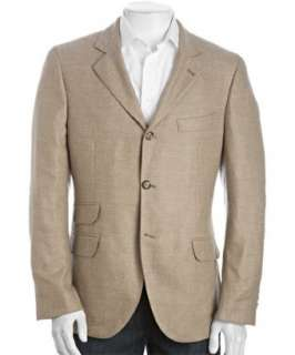 Brunello Cucinelli tan wool cashmere tweed three button blazer
