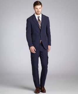 Brunello Cucinelli blue brushed cotton three button suit with flat