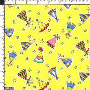 Happy Birthday Party Hats Yellow 100% Cotton Fabric BTY