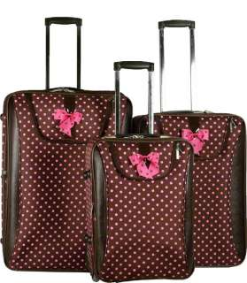 Piece Luggage Set Travel Bag Rolling Wheel Pink Dots