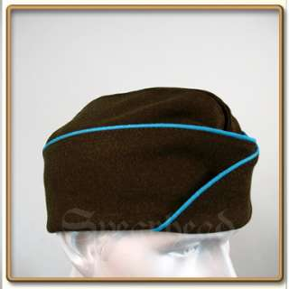 Cap in the Olive drab wool serge, with the infantry blue piping