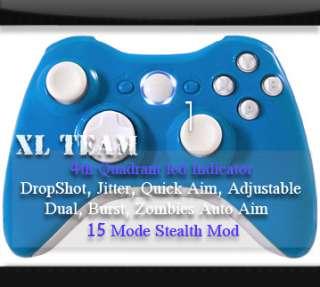 15 MODE XBOX 360 RAPID FIRE MODDED WIRELESS CONTROLLER GLOSS BLUE MOD