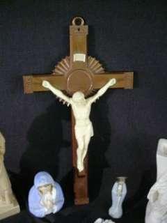 Vintage Religious Catholic Crucifix Holy Water Fonts Figures Cherubs