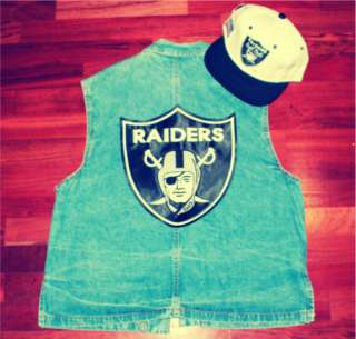 Raiders Blue Jean Jacket Crewneck Sweater Sweat Shirt TI$A Vest