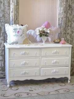 Shabby Cottage Chic 6 Drawer Dresser White French Roses Bedroom