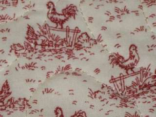 Handmade Set 4 Placemats Country chickens quilted