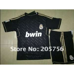 11/12 real madrid away black soccer jersey kit Sports