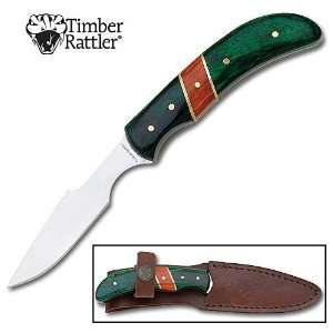 Green Combo Hunting Skinning Knife with Sheath